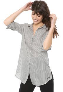 Camisa Cantão Listrada Off-White/Cinza