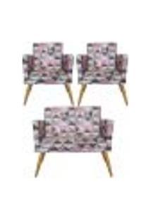 Conjunto Namoradeira Decorativa E 2 Poltronas Com Rodapé Triângulo Rosa - Bela Casa Shop