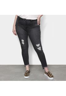 Calça Jeans Cigarrete Sawary Barra Desfiada Plus Size Feminina - Feminino-Preto