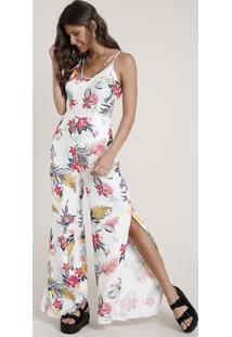 Macacão Feminino Estampado Floral Com Fenda Alça Fina Off White