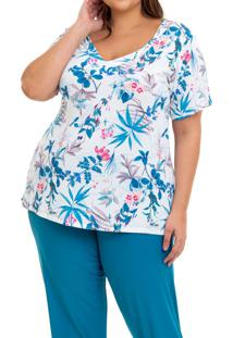 Pijama Longo Liganete Floral Green Sepie (2453) Plus Size, Estampado/Multicolorido, 48