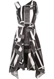 Josie Natori Vestido Assimétrico Listrado - Preto