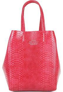 Bolsa Shopping Bag Dupla Face Ellus Feminina - Feminino-Coral