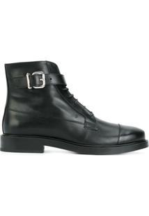 Tod'S Ankle Boot De Couro Com Cadarço - Preto