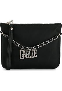 Gaelle Paris Kids Clutch Com Logo - Preto