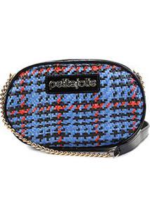Bolsa Petite Jolie Mini Bag Rebel Palha Chess Feminina - Feminino-Azul