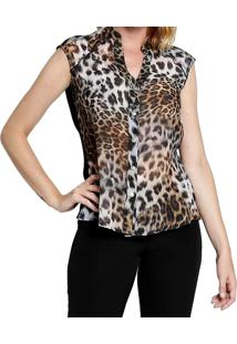 Camisa Manga Curta Energia Fashion Animal Print