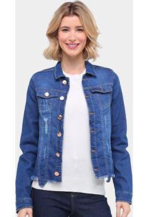Jaqueta Jeans Ecxo Estonada Puídos Barra Desfiada Feminina - Feminino-Azul Escuro