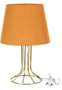 Abajur Torre Dome Laranja Com Aramado Dourado