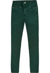 Calça Verde Push Up Em Sarja Flex Jeans Feminina