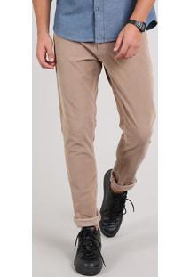 Calça Jeans Masculina Skinny Em Veludo Cotelê Kaki