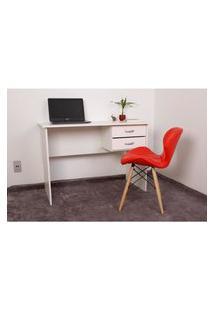 Kit Escrivaninha Com Gaveteiro Branca + 01 Cadeira Eiffel Slim - Vermelha