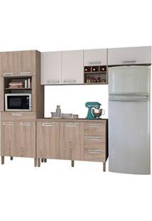 Cozinha Modulada Ametista 5 Módulos Composição 2 Nogal/Branco - Kit'S