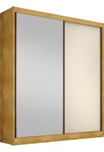 Guarda-Roupa Solteiro Com Espelho 2 Portas Virtus-Novo Horizonte - Freijo Dourado / Off White