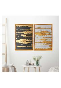 Quadro Com Moldura Chanfrada Ouro Descascado Dourado - Grande
