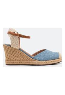 Sapato Modelo Espadrille Salto Anabela Detalhe Corda Satinato | Satinato | Azul | 37