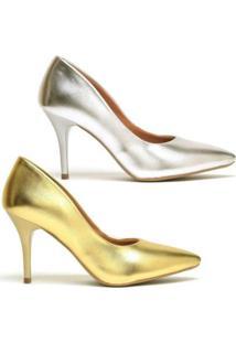 Kit Scarpin Ellas Online Salto Médio Metalizado 2 Pares - Feminino-Dourado