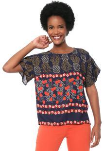Blusa Cantão Lisbela Azul-Marinho/Vermelho