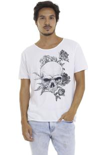 Camiseta Joss Estonada Corte À Fio Caveira Florida - Branco