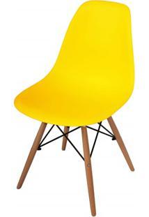 Cadeira Polipropileno Com Pés De Madeira 82X47Cm Amarela