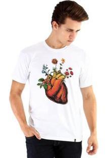 Camiseta Ouroboros Manga Curta Coração - Masculino-Branco