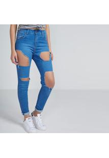 Jeans Skinny Destroyed Com Bolsos - Azulpop Up