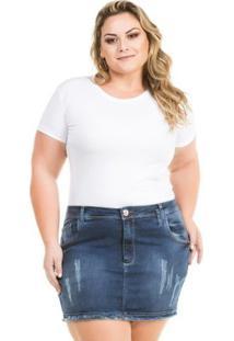 Saia Confidencial Extra Plus Size Jeans Curta Com Elastano Feminina - Feminino-Azul Escuro