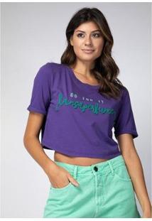 T-Shirt Cropped Lança Perfume Feminina - Feminino-Roxo
