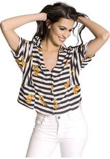 Camisa Cropped Listrada Handbook - Feminino-Preto