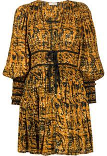 Ulla Johnson Vestido Kesia Com Franzido Na Cintura - Amarelo