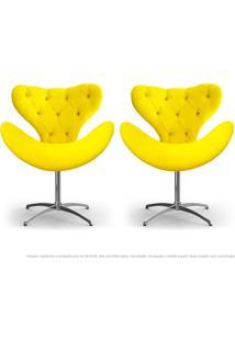 Kit De 02 Cadeiras Decorativas Poltronas Egg Com Capitonê Amarela Com Base Giratória