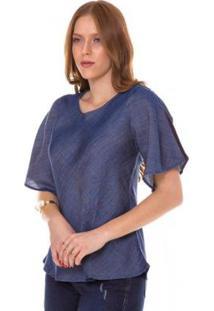Blusa Jeans Express Helena Feminina - Feminino-Azul