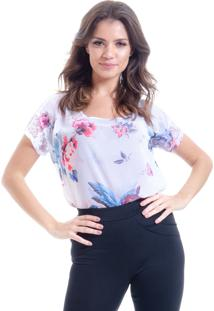 Blusa 101 Resort Wear Tunica Crepe Renda Estampada Floral Vintage