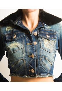 Jaqueta Alvo Da Moda Jeans Gola Pelinho Azul