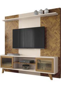 Estante Home Painel Para Tv Até 60 Pol. Marchê Chevron/Off White - Hb Móveis