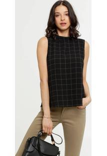 Blusa Feminina Quadriculada Assimétrica Marisa
