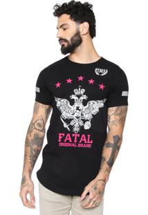 Camiseta Fatal Surf Reta Estampada Preta