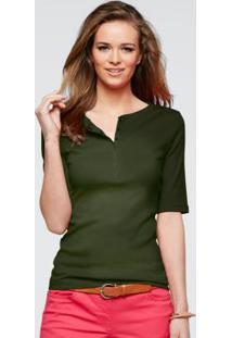 Blusa Meia Manga Com Peitilho Verde Militar