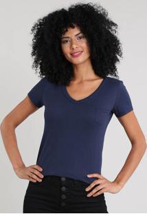Blusa Feminina Básica Com Bolso Decote V Azul Marinho