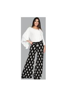 Calça Malha Pantalona Triangulos Amazonia Vital Branco E Preto