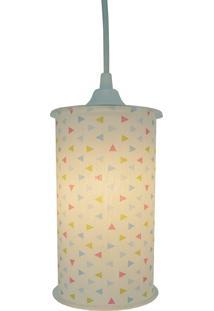 Luminária Pendente Cilíndrica Crie Casa Triângulo Colorido