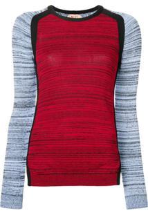 Nº21 Suéter Com Mangas Contrastantes - Vermelho