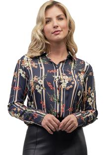 Camisa Viscose Mx Fashion Estampada Iris Azul Marinho