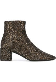 Saint Laurent Bota De Couro Com Glitter - Metálico