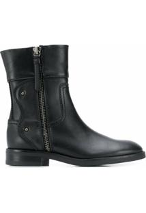 See By Chloé Ankle Boot Com Zíper Lateral - Preto