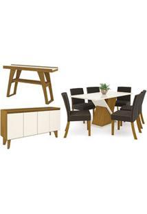 Sala De Jantar Completa Mesa 6 Cadeiras Com Buffet E Aparador Solus Na