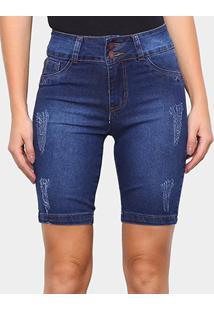 Bermuda Jeans Coffee Puídos Feminina - Feminino-Azul