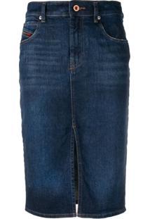 fb72a9ff5d ... Diesel Saia Lápis Jeans - Azul