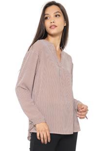 Blusa Lily Fashion Listrada Marrom/Bege