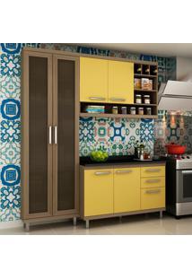 Cozinha Compacta New Vitoria 10 Avelã Tx/Maracujá - Hecol
